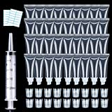 50PCS Lip Gloss Tubes 10ml Clear Empty Lip Balm Containers Refillable Soft Cosmetic Tubes for DIY Lip Gloss with Free Syringe + Tag Labels Stickers by AMORIX