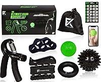 究極のワークアウト手Fitnessセット–6in 1キット–ハンドグリップStrengthener、指ストレッチャー、Hand Exerciser、ストレスボール、とげマッサージボールfor Hands &指W/ワークアウトプログラム