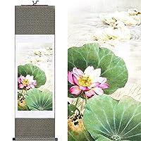 TANG DYNASTY(TM) 中国画 シルク画 花鳥 荷花鴛鴦 巻物 表装済 100cmX30cm SP40065