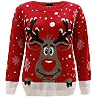 FASHION FAIRIES Women Red Nose Reindeer Knitted Jumper Ladies Long Sleeves Christmas Sweater Top
