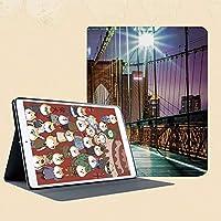 iPad mini 1 2 3 ケース 二つ折スタンド オートスリープ機能 iPad Mini3/2/1(初代第二三世代) 専用スマートカバー日の出前にブルックリン橋の歩行者専用通路