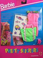バービー Barbie PRETTY STICKERS FASHIONS Clothes (Pink/Green) - Easy To Dress ドレス (1992) ドール 人形 フィギュア [並行輸入品]