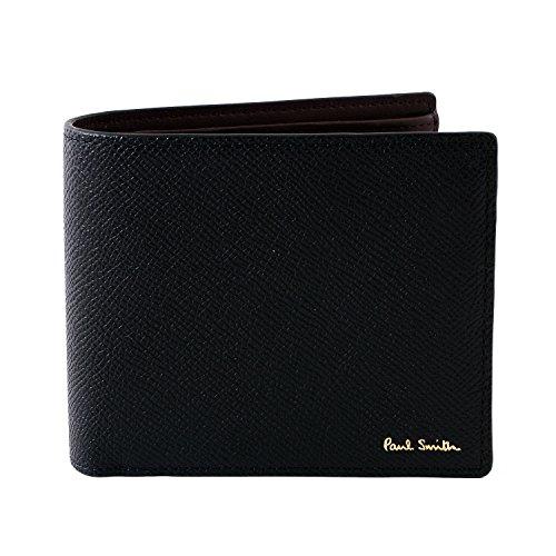 (ポールスミス) Paul Smith カラーフラッシュ レザー ウォレット 二つ折り財布 本革 873106 P414 ショップバッグ付 (ブラック)
