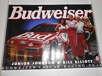 "Vintage Bill Elliott Ford Budweiserサンダーバード# 11& Junior Johnson Budweiser Girls Poster 28"" Wide X 20"" Tall"