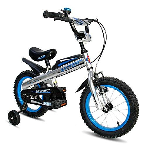 Cyfie ナイト 子供用自転車 泥除け付き 補助輪付き 滑り止めハンドル付き 格好いい 簡単に安装 安全 丈夫 二つブレーキ 二つサドル (ブルー, 16インチ)