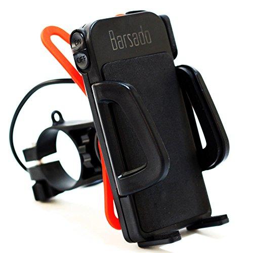バイク スマホホルダー USB 電源 ON/OFFスイッチ 付属 2.4A(5V / 2.4A) 急速充電防水仕様 スマートフォン ホルダー バー マウント 多機種対応!! ラバーグリップ2枚付属 【Barsado】 (ノーマルタイプ)Ba2156