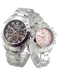 限定品 ペアウォッチ Don Clark Anne Clark カップル 腕時計 幸運のセブンダイヤモンド クロノグラフ 天然シェルダイヤル (ピンクゴールドローマ) [並行輸入品]
