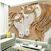 Mingld カスタマイズされた大規模な壁画レリーフ馬3Dテレビの背景の壁不織布壁紙-350X250Cm