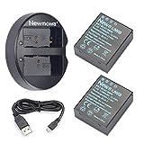 Newmowa BLH-1 互換バッテリー 2個+充電器 対応機種 Olympus BLH-1 Olympus EM1 MARK II (ハーフデコード)