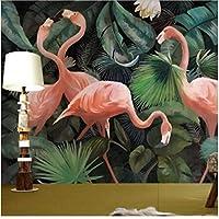Lixiaoer カスタム3D写真壁紙ステレオ手描きのフラミンゴ壁紙レストラン子供部屋動物園ラウンジ壁紙-250X175Cm