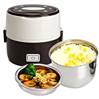 funnytoday365ステンレススチールライナー炊飯器電気暖房FoodボックスMini Electric Steamer Foodコンテナ熱弁当箱ピクニック弁当