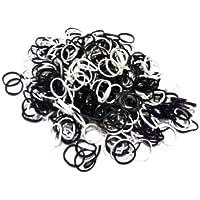 ETHAHE 1800pcs黒い&白いの組み合わせラテックスフリー織機リフィルゴムバンドブレスレットS-クリップ75枚付ホワイト&ブラック