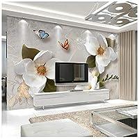 Mingld カスタム3D壁壁画壁紙ヨーロッパスタイルレトロ花蝶デスクトップ壁紙用リビングルームテレビ背景壁壁画-250X175Cm