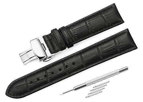 [イストラップ]iStrap 20mm本革時計バンド ウォッチベルトストラップDバックル 鰐皮紋様 両開き/観音開き尾錠金具