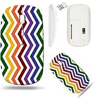 Liiliワイヤレスマウスホワイトベース旅行2.4GワイヤレスマウスUSBレシーバー付き、クリックwith 1000dpi for PCノートブック、PC、ラップトップ、コンピュータ、Mac Book Gay Pride色をジグザグパターンに背景that is Se