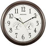 リズム時計 掛け時計 アナログ オルロージュインフォートM37 温度 ・ 湿度 計付き 連続秒針 クォーツ モデル 茶 RHYTHM 8MGA37SR06