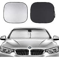 車用サンシェード 遮熱遮光 2枚セット Toplus フロントガラス用日よけ 紫外線カット 簡単着脱 収納袋付き カー用品 カーシェード コンパクト