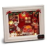 Cuteroom DIYフォトフレームドールハウスミニチュアキット木製クラフトHappyクリスマス