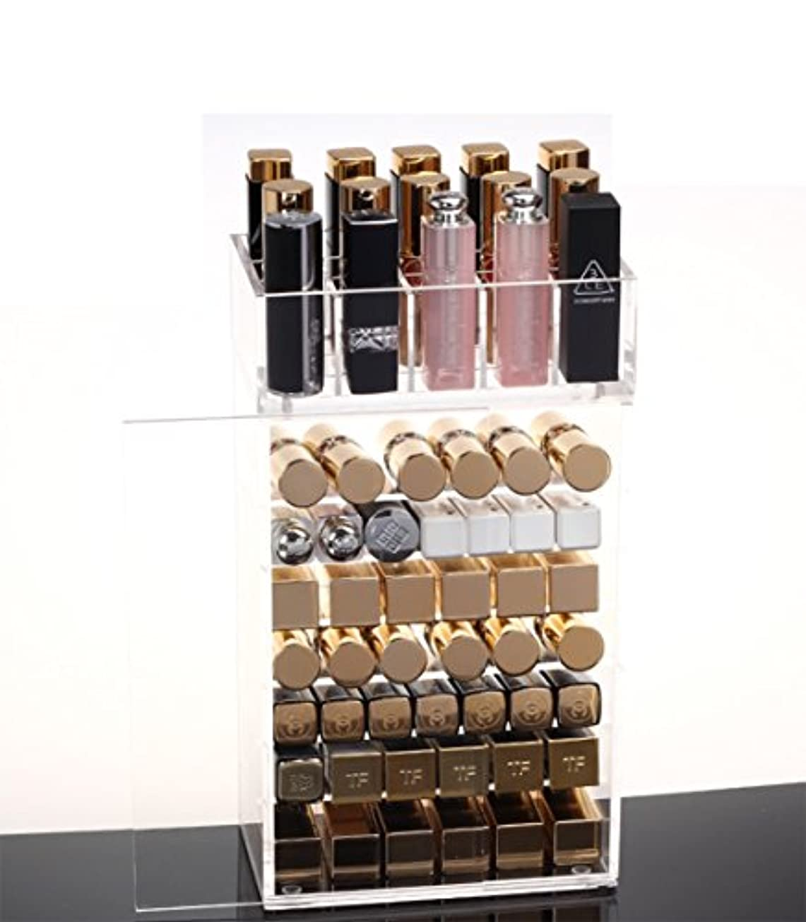 フルート葡萄摂氏SZTulip 化粧品収納ボックス メイクケース メイクボックス 口紅収納 ネイルカラー小物入れ レディース  透明アクリル 防塵ドア付き コスメボックス