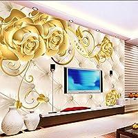 Wxmca カスタムゴールドフラワーソフトバッグ壁画3D壁の壁画壁紙用テレビの背景3D壁写真壁画壁紙壁紙家の装飾-120X100Cm