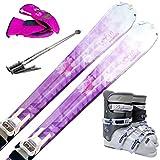 スキー5点セット VOLKL ESSENZA ARGENTO 147cm ブーツ25cm ストック110cm レディースグローブ ワクシング施工