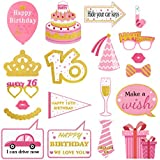 Amosfun 20点 16歳 誕生日フォトプロップス 撮影 二次会 写真小道具 ピンク 可愛い パーティー用品