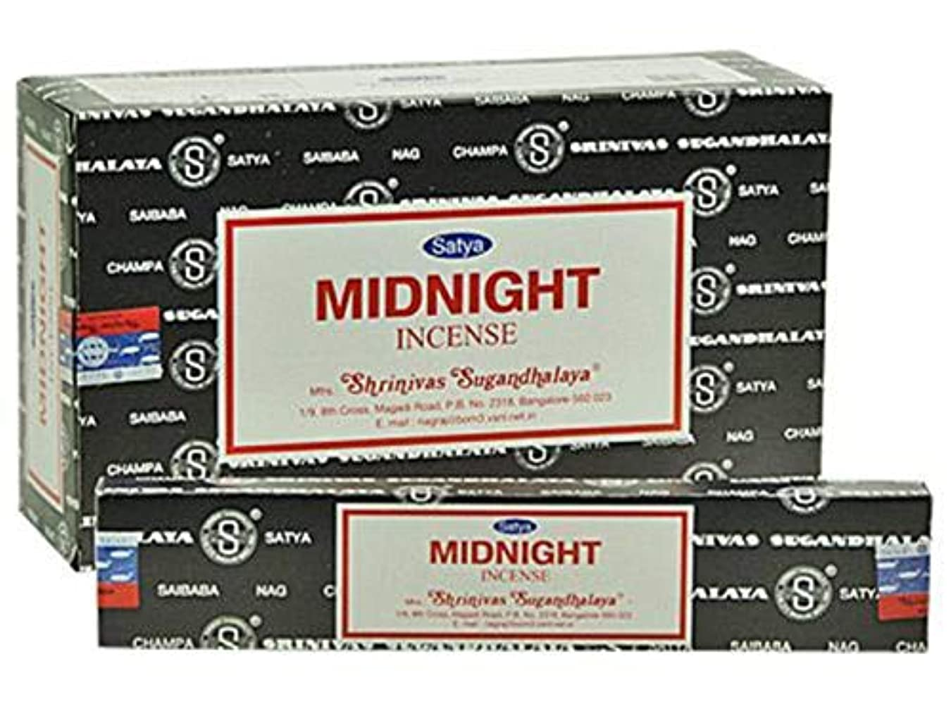 通路もちろん水平Satya Nag Champa Midnight Incense Sticks – ボックス12パックby Satya