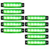 来慶(ライケイ) LED 6連 サイドマーカー 緑 24V 10個セット カスタム ランプ グリーン デコトラ イルミネーション