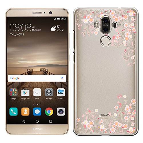 「Breeze-正規品」iPhone ・ スマホケース ポリカーボネイト [透明-Pink]ファーウェイ メイト9 ケース HUAWEI Mate 9 SIMフリー MATE9ケース MATE9カバー 液晶保護フィルム付 全機種対応 [MATE9]