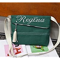 Has Many Uses Embroidery Canvas Tassel Shoulder Bag Fashion Messenger Bag Student Women's Bag Trend Clutch Green