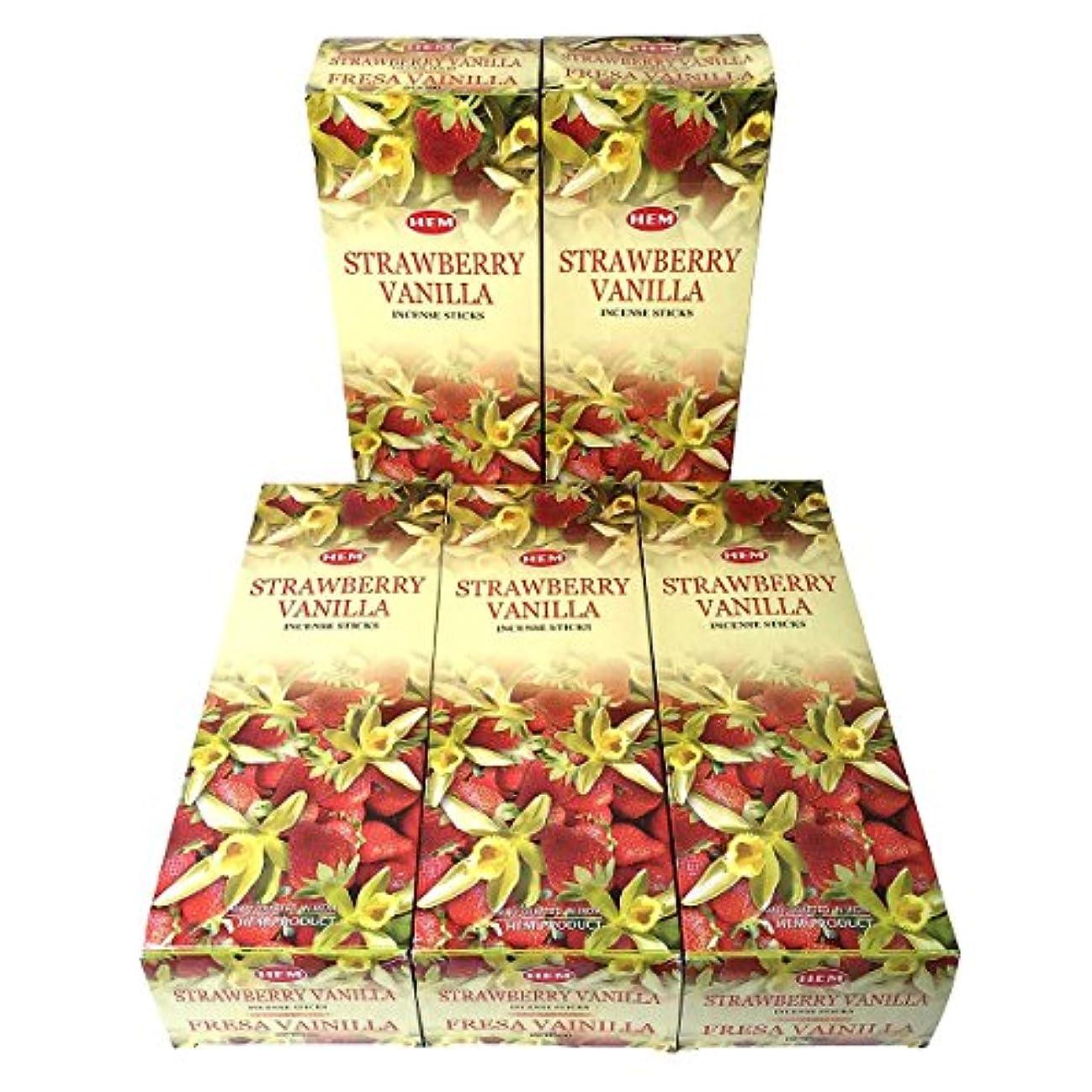 HEM ストロベリーバニラ香 スティック 5BOX(30箱)/HEM STRAWBERRY VANILLA/ インド香 / 送料無料 [並行輸入品]