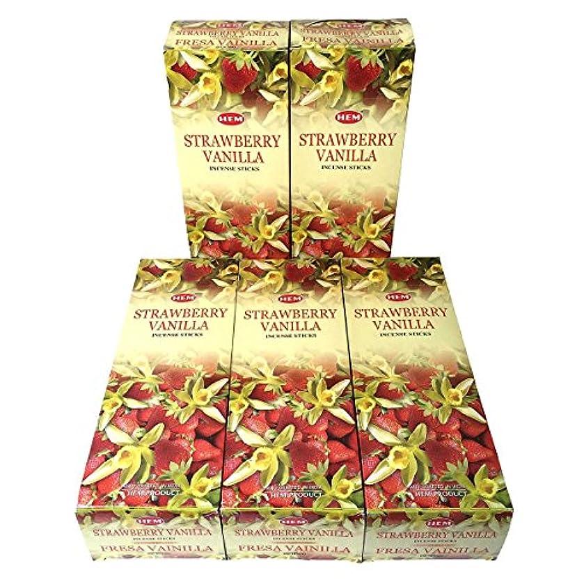 食べるヶ月目アフリカHEM ストロベリーバニラ香 スティック 5BOX(30箱)/HEM STRAWBERRY VANILLA/ インド香 / 送料無料 [並行輸入品]