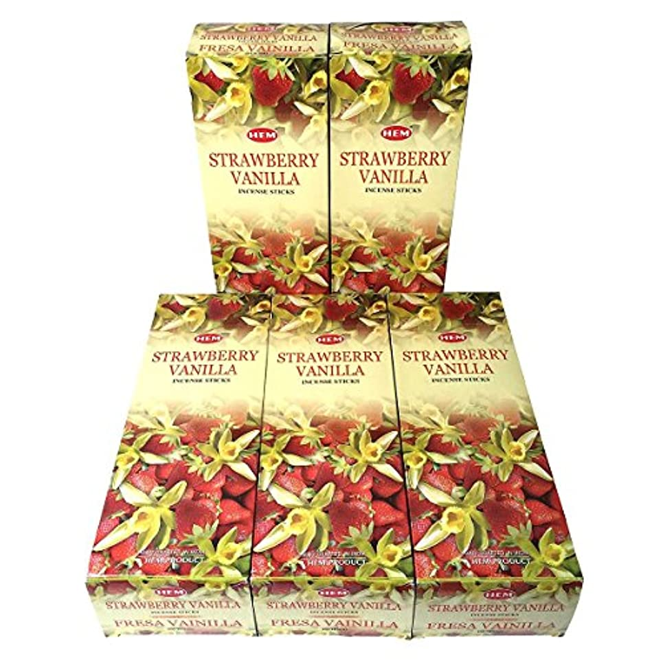 支店勃起かなりHEM ストロベリーバニラ香 スティック 5BOX(30箱)/HEM STRAWBERRY VANILLA/ インド香 / 送料無料 [並行輸入品]