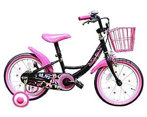GRAPHIS(グラフィス) 補助輪付き子供用自転車 16インチ リボンカラー GR-16R ブラック×ピンク