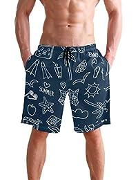 VAWA 水着 メンズ サーフパンツ おしゃれ ビーチパンツ 海水パンツ 短パン 吸汗速乾 大きいサイズ 水陸両用 葉柄 熱帯風 星柄