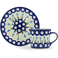 Ceramika Bona H1223H Polish Pottery Ceramic Cup with Saucer Hand Painted 6-Ounce [並行輸入品]
