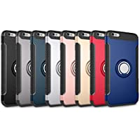 iPhone X / 8 / 8 Plus / 7 / 7 Plus / 6 / 6S Plus ケース リング付き カバー Teyissalia スマホ カバー 衝撃防止 バンカーリング 付き スタンド機能 おしゃれ 軽量 薄い 人気 バックカバー 滑り止め シンプル 車載ホルダー対応 (iPhone6 / 6S, ブラック)