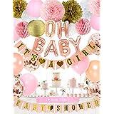 ベビーシャワーパーティー飾り 飾りつけ 風船 女の子 100日 半歳 一歳 ローズゴールドバルーン ピンクのベビーシャワーのバナー 紙提灯 ピンクペーパーフラワー ハニカムボール 36枚