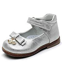 Ahannie Kids Girls Mary Jane Flats Front Pearl Pendant Wedding Party Princess Dress Shoes