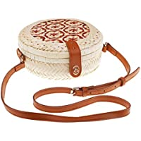 Dolity Portable Handmade Rattan Woven Shoulder Bag Bamboo Round Cross Body Bag Summer Beach Purse A