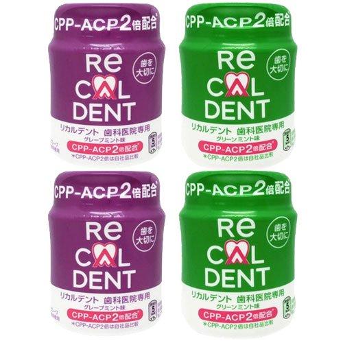 歯科医院専用 リカルデント 粒ガム ボトルタイプ 140g グリーンミント味2個+グレープミント味2個=4個