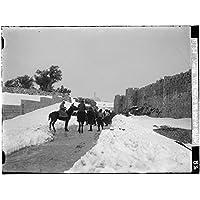 雪の冬の間に1900年のフォトエルサレム。 雪のドリフトが付いた北壁: エルサレム。