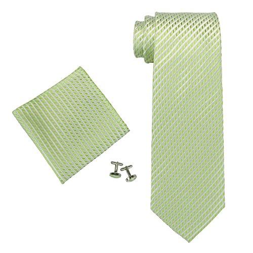 Landisun ソリッド メンズ シルク ネクタイ セット :ネクタイ+ハンカチ+カフス 653 ライト グリーン, 148x8.25cm