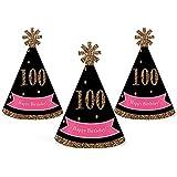 シック100th誕生日 – ピンク、ブラックとゴールド – Mini円錐Birthday Party Hats – Small Little Party Hats – 10のセット