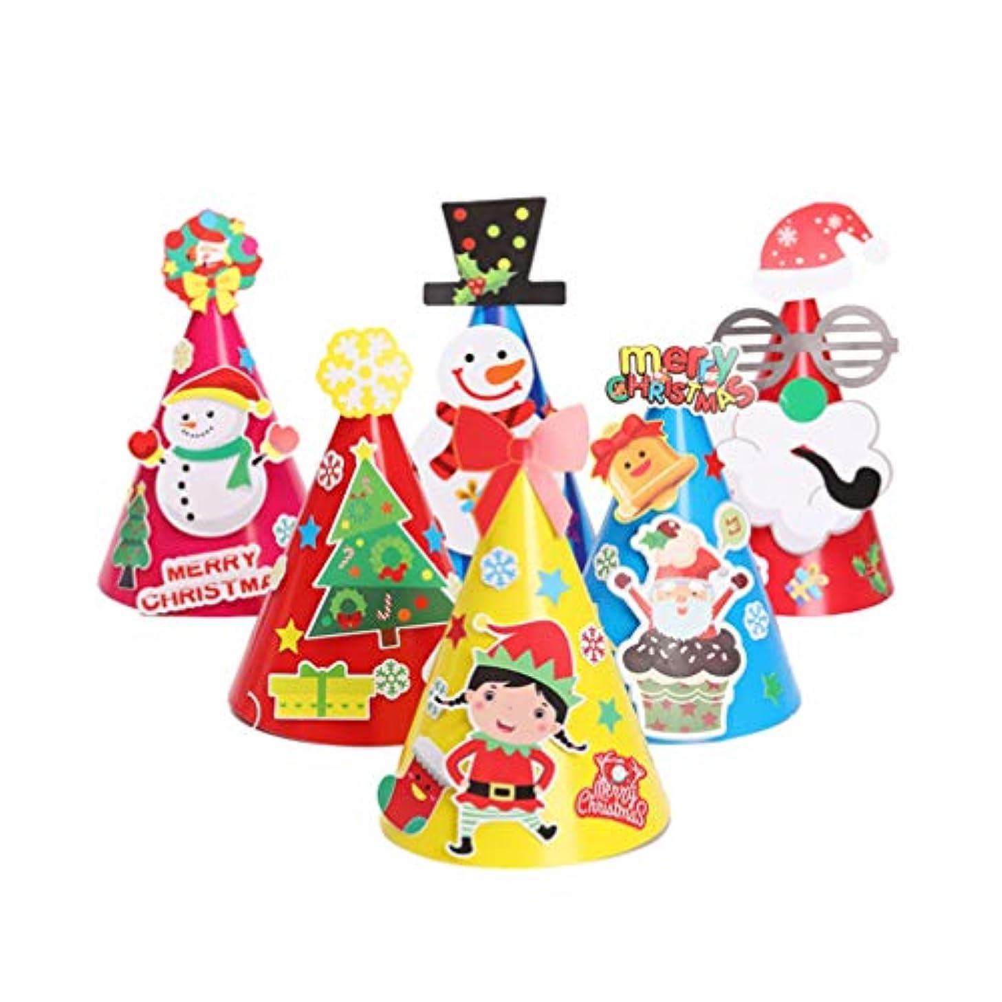 確立小間接続されたNUOBESTY 12ピースクリスマスコーン帽子紙帽子クリスマスdiyオーナメント用キッズ子供