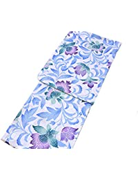 着物美人 浴衣 ゆかた 変り織り 女浴衣 女性用 大人 M F L フリーサイズ 155-165 【 白 水色 紫 唐花 】a417002-3