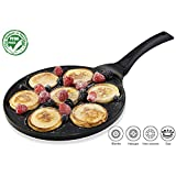 Gourmia GPA9510 Blini Pan Nonstick Silver Dollar Pancake Pan With 7-Mold Design 100% PFOA free non-stick coating …