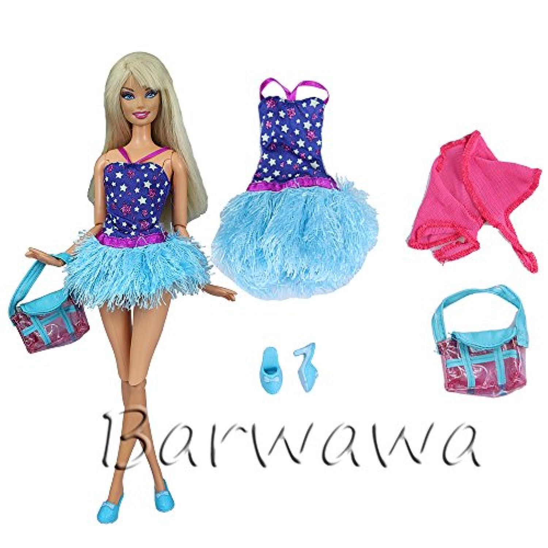 「Barwawa」バービー用 服 ドレス ジェニー用 服  ウェア ドール用 人形用 アクセサリー  手作り ジェニー 用ドレス 吊りスカート バービー人形 洋服 バービー 用着せ替え 肩掛け?カバン付き