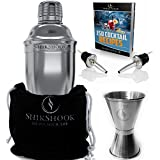 Cocktail Shaker Set - Professional Bartenders Kit in a Premium Bag : Martini Bar Mixer Jigger 2 Liquor Pourers and ebook : 100 Bartender Drinks Recipes - Barware Tools Supplies by SHIKSHOOK by SHIKSHOOK
