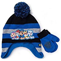 Nickelodeon Little Boys Paw Patrol Character Hat and Mittens Cold Weather Set, Age 1-5 Blue Black